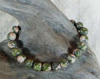 "Green pink unakite bracelet 7.5"" long 8mm beads granite rainforest rhyolite semiprecious stone jewelry packaged in a gift bag 12235"