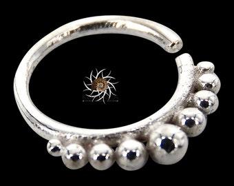 Aditi Silver Septum Ring - Septum Jewelry - Septum Piercing - 18G Septum Ring - 16G Septum Ring - Indian Septum Ring - Tribal Septum Ring S1
