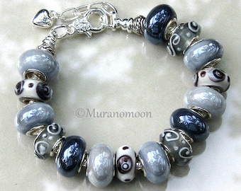 Gray Glass Bead Charm Bracelet Shades of Gray European Style Charm Bracelet Classic Glass Beaded Bracelet Gift For Grandma Nana Aunt #EB1550