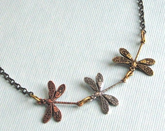 Dragonfly Necklace - Mixed Metal, Small Dragonfly Necklace, Nature Jewelry, Nature Necklace