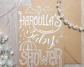 Personalised Baby Shower Card - Handlettered