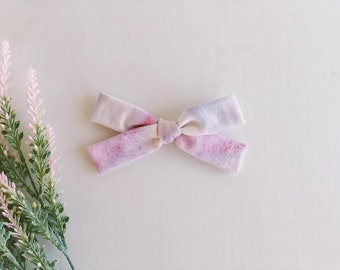pastel tie-dyed oversized schoolgirl bow / hand-knotted bow / girl headband / girls accessories / infant headband / spring hand tied bow