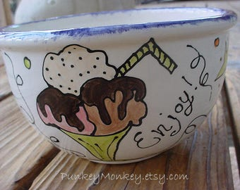 Custom ice cream bowl you design cereal custom popcorn bowl cereal soup salad wedding personalized pottery big deep bowl 5 inches deep