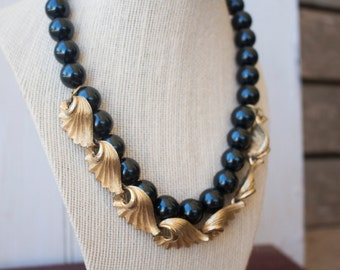 Midnight Blue & Brass Necklace, Vintage Pearl Necklace, Vintage Jewelry, Antique Necklace