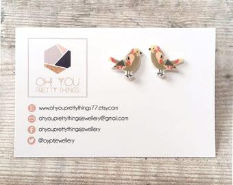Bird earrings - Bird studs - Stud earrings - Bird gift - Bird lover - Quirky earrings - Summer earrings - Cute earrings - Gift for her
