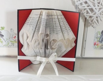 Believe Book Folding Pattern with tutorial. DIY. Make your own Gift. Please read Listing. PDF Files only.