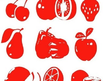 red fruit for kitchen stickers