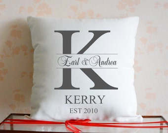 Personalized Family Name And Est Date Pillow Cover,Mr & Mrs Pillow Case, Custom Wedding Pillow, Wedding Gifts for Couples,Anniversary Gift