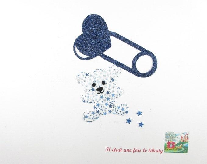 Applied fusing baby safety pin bear Teddy bear birth fabric liberty Adelajda blue flex glitter iron on patch