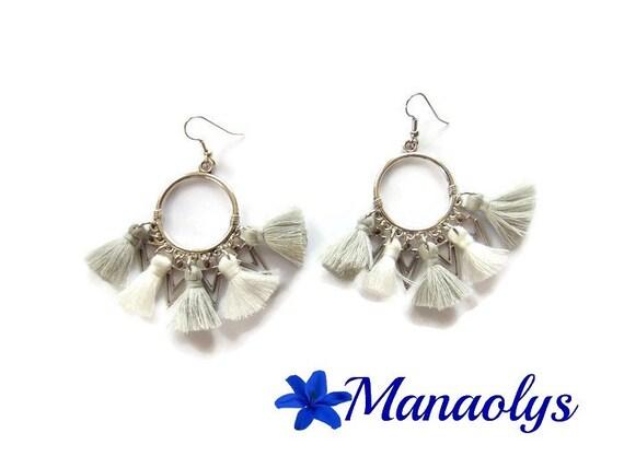 Hoop earrings Bohemian, tassels, gray and white, triangle pendants