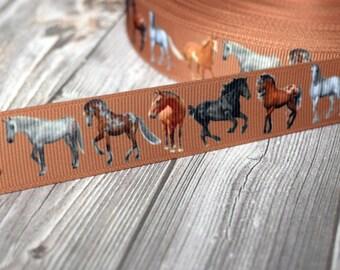 "7/8"" horse ribbon - 3 or 5 yard lot - equestrian hair bow DIY - Brown ribbon - Horses - Cowgirl ribbon - Farm ribbon - Farm animals"