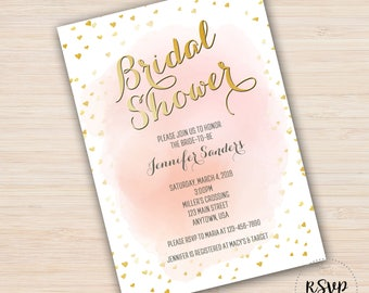 Shower Invitation, Watercolor Gold Hearts Design, Color options available