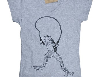 Womens V Neck T Shirts - Frog T Shirt - Womens Frog Tee - Funny TShirts - Hipster Tee Shirt - Gift for Women - Gift for Friend
