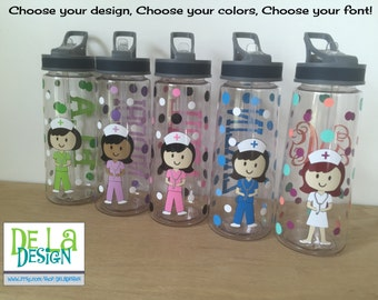 Personalized with name drinkware or water bottle - Nurse, RN, Doctor, Technician, Dental hygienist, Vet, Teacher