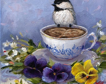 "Pansies & Chickadee, 8""x8"", oil, original, Krista Eaton, art, pansies, pansy, floral, still life, spring"