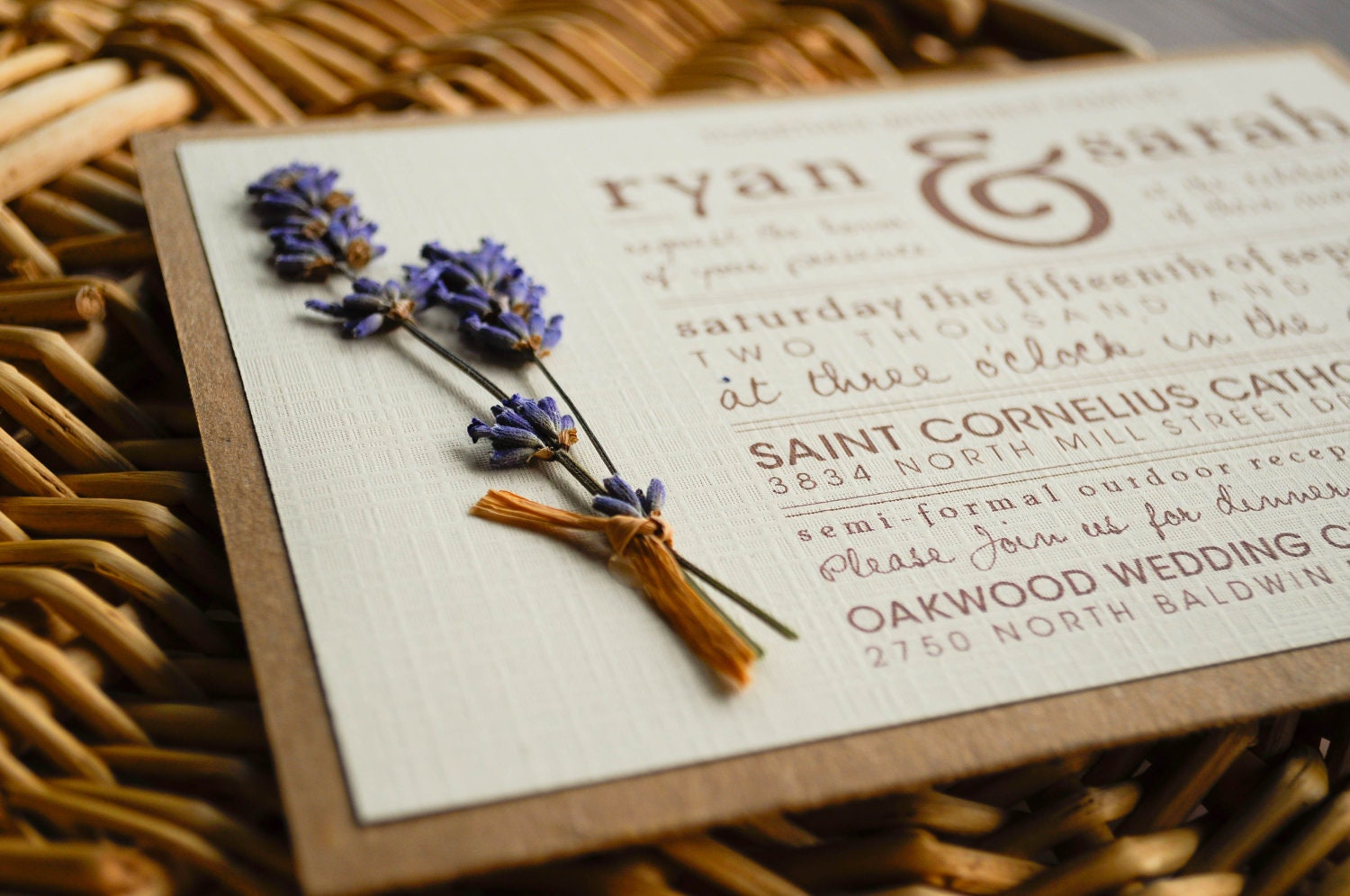 Rustic Lavender Wedding Invitation Suite 5x7 DIGITAL