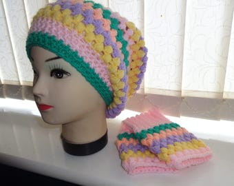 adult size rainbow crochet hat & fingerless gloves