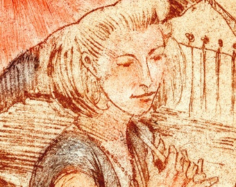 Girl with umbrella etching