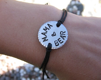 Custom Bracelet - Mama Bear Bracelet - Personalized Bracelet - Adjustable Bracelet - Cord Bracelet - Couples Bracelet - for Her - for Him