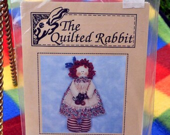 The Quilted Rabbit - Button Annie Rag Doll Pattern - Raggedy Ann Style - Country, Primitive, Shabby Chic - 7 Inches -  #ST-921 - UNCUT
