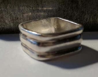 Wide Square Sterling Ring