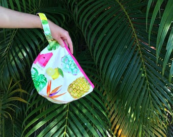 Tropical Illustration Clutch with Watercolour Illustrations One of a Kind