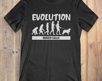 Border Collie Custom Dog T-Shirt Gift: Border Collie Evolution