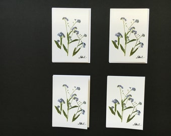 "Set of 4 Cards - ""Forget-Me-Not"" Card Prints"