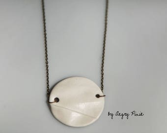 Round porcelain inspired origami necklace