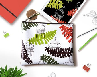 Travel make-up zip bag. Make-up flat bag for traveler mum. Elegant case for tablet or kindle. Handbag for vegan mom. Gift vegan teacher.