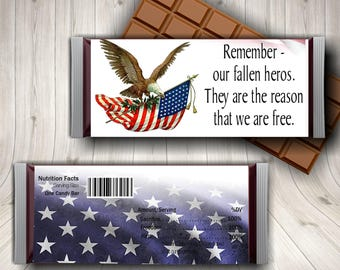 Memorial Day Candy Bar Wrapper,  Fallen Soldier, Soldier Memorial, Military Memorial, Red White Blue, 4th of July, Veterans Day, Patriotic