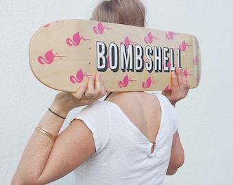 Hand Lettered Bombshell Pink Flamingo Skate Deck - Illustrated Skateboard Art