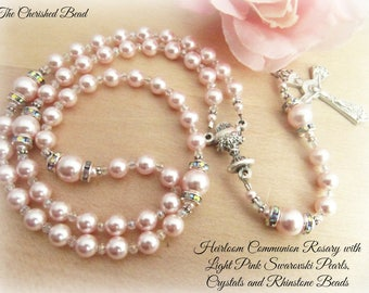 Lovely Soft Pink Pearl Catholic Communion Rosary