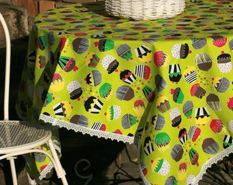 ON SALE Fun muffin print linen tablecloth 1,5x 1,5x