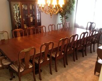 "12' x 56"" Cherry dinning room dual pedestal table"