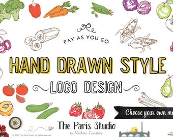 Custom Logo Design Food Logo Restaurant Logo Branding Hand Drawn Fruits Veggie Logo Boutique Floral Logo Website Logo Blog Logo Branding