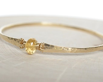 Citrine Bracelet Gold Hammered Bangle Bracelet November Birthstone Gold Filled Gemstone Bangle