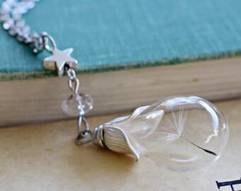 Dandelion Seed Necklace, Wish Necklace, Dandelion Necklace, Silver Star Necklace, Real Flower Jewelry, Teardrop Glass Bottle Necklace, Bulk