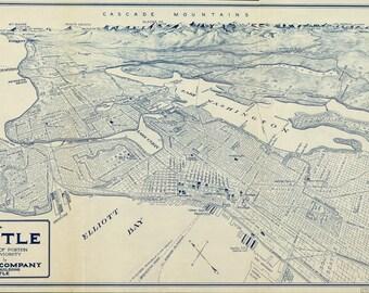 Vintage Map - Seattle, Washington 1925