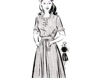 Vintage 40s Dress Pattern Mail Order 1970 Square Neck Day Dress Slash Pockets Ruffle Size 13 Sewing Pattern Women