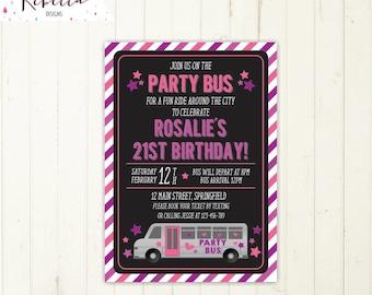 Party bus invitation bus birthday bridal bus bridal shower invitation wheels on the bus birthday invitation printable party invitation girl