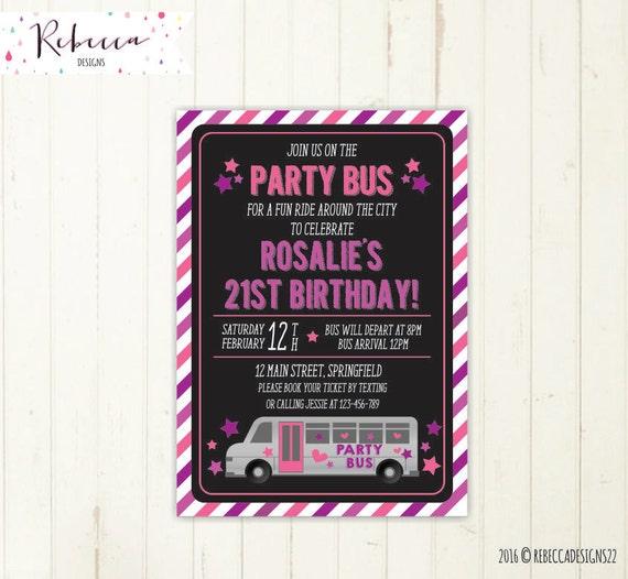 Party bus invitation bus birthday bridal bus bridal shower stopboris Images