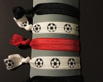 5 Soccer elastic hair ties