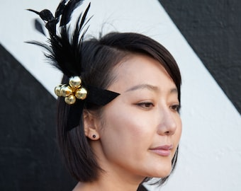 Black Feather Barrette With Gold Spheres - Fascinator Pin Brooch Hair Clip