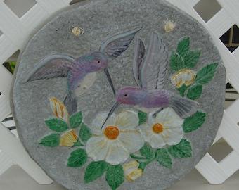Hummingbird - Cement Plaque - Indoor Outdoor Decoration - Free Shipping