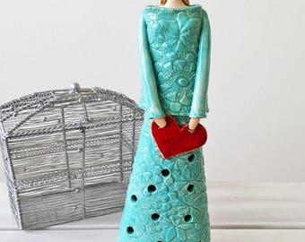 Ceramic candle holder, ceramic figurine, tealight lantern, women, lady sculpture, female figure, cloche for candle, tealight burner, artwork