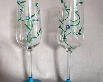 Floral Vine Champagne Glass