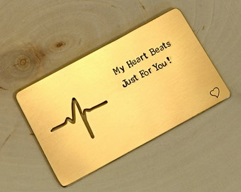 Wallet Insert My Heart Beats Just for You in Bronze Handmade for 8th Anniversaries and Statements of Love - WI201