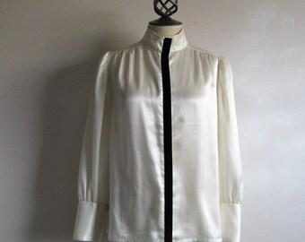 Vintage 80s Satin Blouse 1980s Ivory Satin Black Velvet Trim Blouse Medium