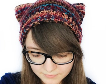 Multicolor, Cat Hat, Cat Ears, Slouch Beanie, Cat Beanie, Kitten Play, Cat Costume,  Furry Costume, Cat Ears Hat, Cat Ear Beanie